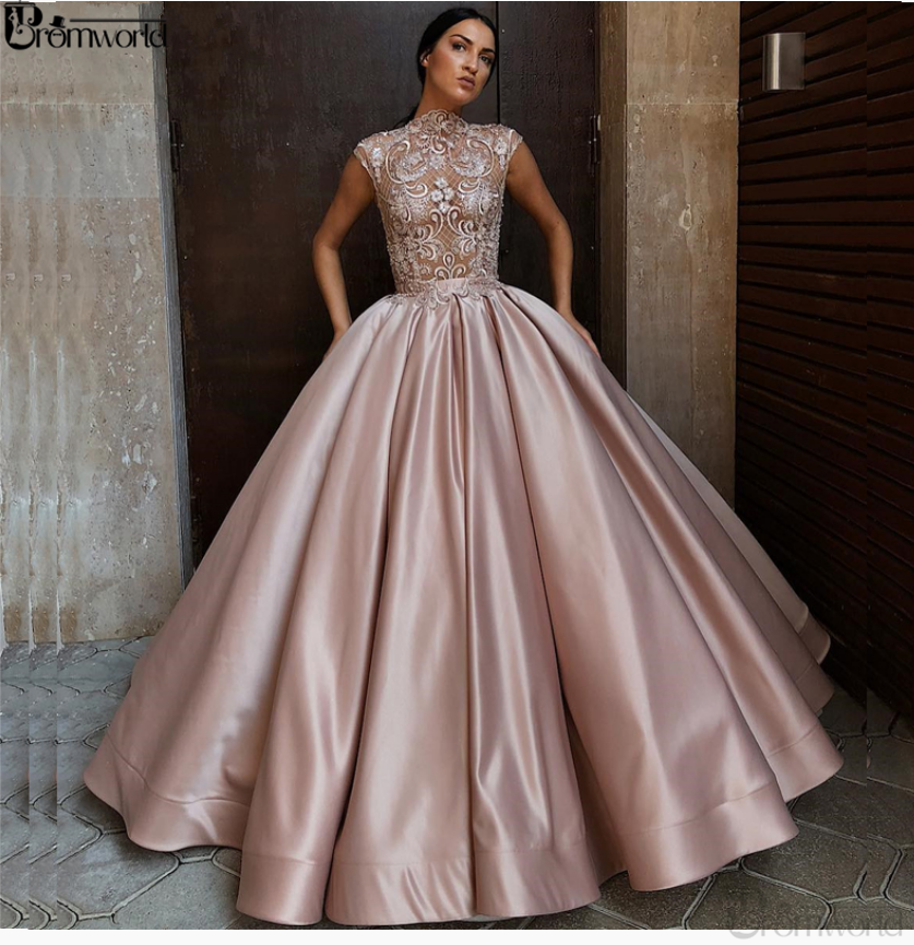 Elegant Ball Gown Evening Dresses 2020 Satin Jewel Neck Lace Cap Sleeves Dusty Pink Formal Dress Long Evening Party Prom Gowns
