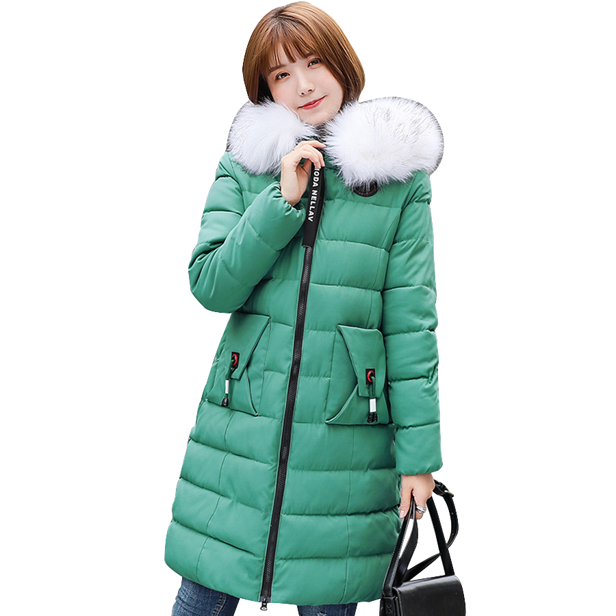 Winter Coat Women Fur Collar Hooded Cotton Wadded  Thicken Jacket Winter Coats Female Outwear Large Plus Size Ladies Clothing