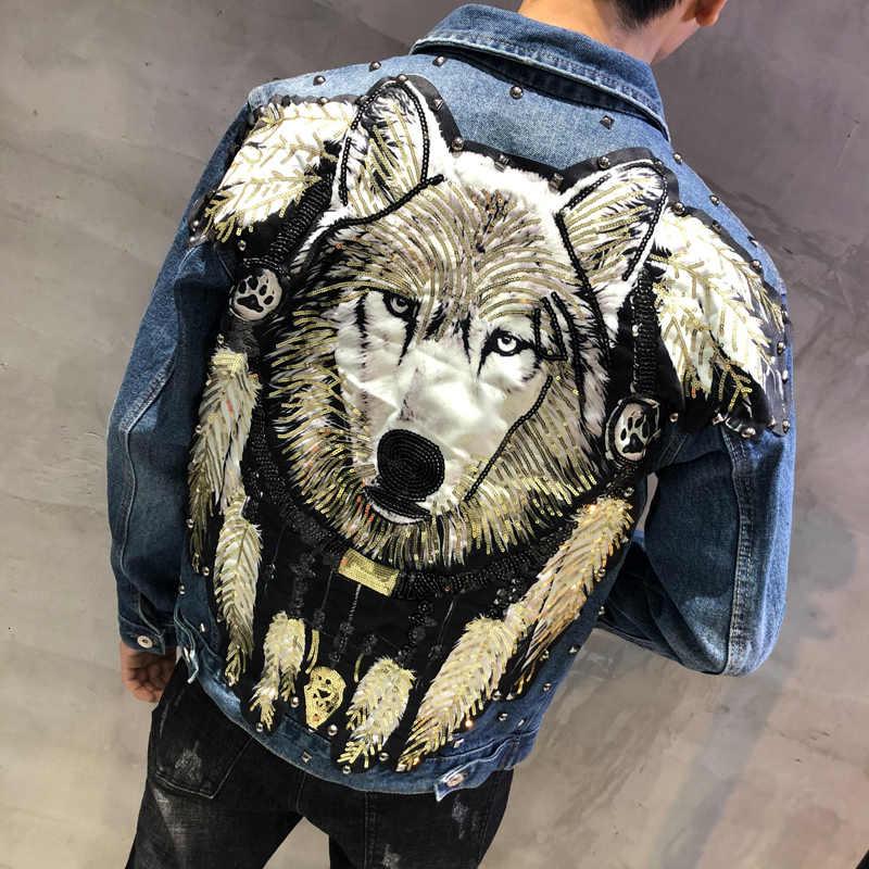 Streetwear Gescheurde Gat Jeans Jas Merk Jas Mannelijke Herfst Man Tij Merk Wolf Cowboy Kleding Punk Pailletten Wolf Denim Jas mannen