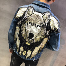Streetwear Ripped Hole Jeans Jacket Brand Coat Male Autumn Man Tide Brand Wolf Cowboy Clothes Punk Sequins Wolf Denim Jacket Men(China)
