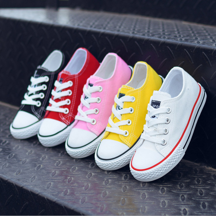 Boys Girls Shoes Children Shoes Casual Shoes Kids Sneakers Solid Color Canvas Shoes Lace Up Students Flats Tenis Infantil