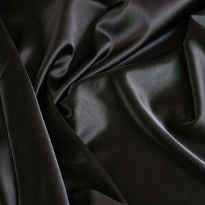 Image 1 - Großhandel 2 meter voll langweilig elastische satin stoff imitation seide material für ein stück kleid schwere schwarz satin spandex stoff