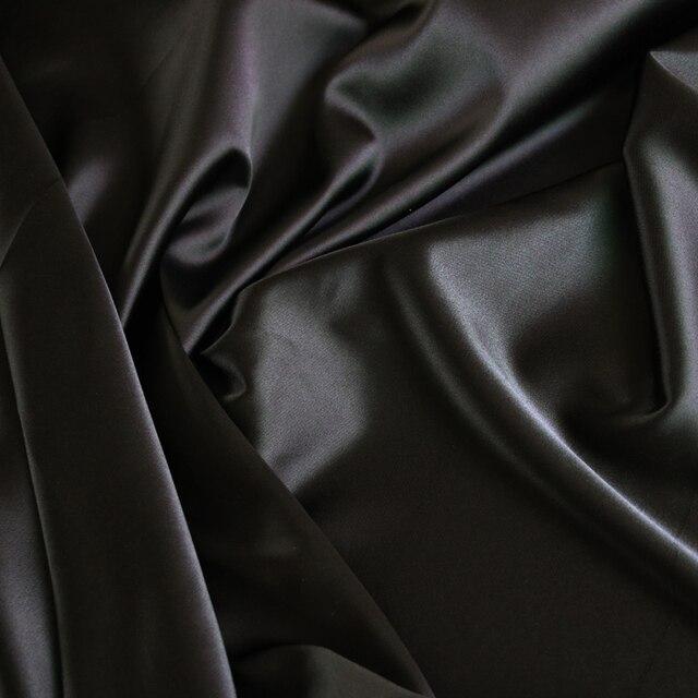 Großhandel 2 meter voll langweilig elastische satin stoff imitation seide material für ein stück kleid schwere schwarz satin spandex stoff