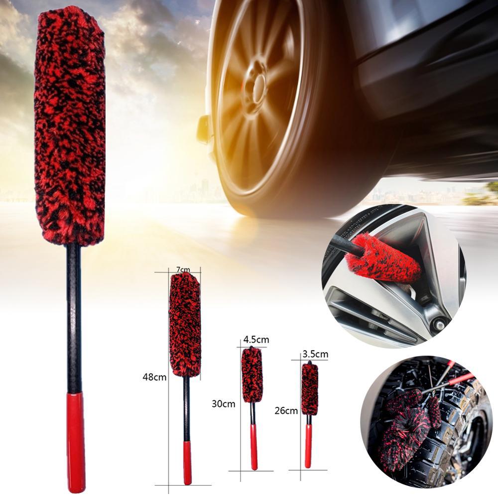Car Wheel Wash Brush Flexible 3pcs Long Handle Premium Wool Car Rim Brushes Soft Fiber Car Tire Auto Hub Cleaning Brush