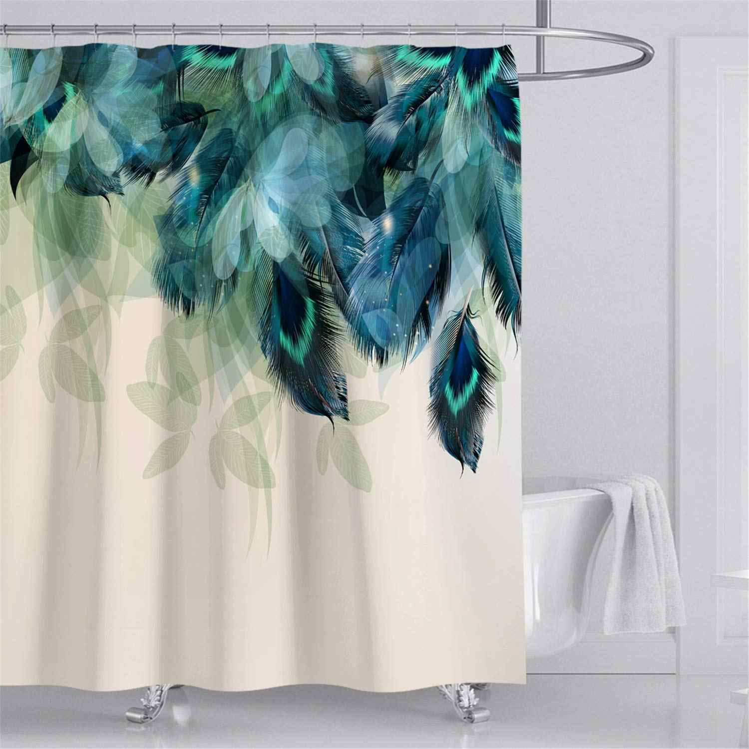 50 blue fabric shower curtains pics