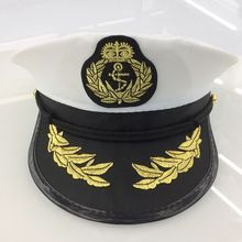 Fashion Unisex Navy Captain Boating Military Hat White Vintage Skipper Sailors Adult Party Fancy Dress Cosplay Cap