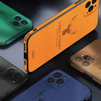 Etui na iPhone 12 Pro Max 11 Pro Max 12 Mini X XS etui luksusowe skórzane kwadratowe ramki Deer ochrona aparatu odporna na wstrząsy tanie i dobre opinie PLUSSIDA CN (pochodzenie) Częściowo przysłonięte etui LEATHER Case FOR IPHONE 12 PRO MAX 12PRO MINI Urządzenia iPhone Apple