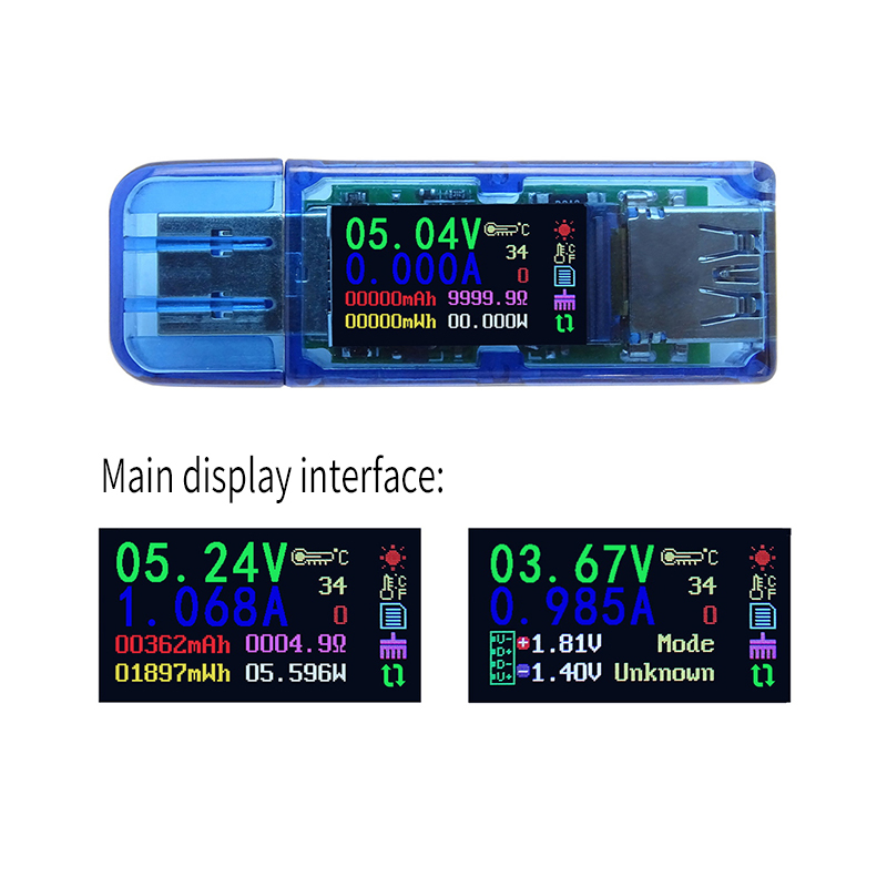 USB 3.0 Color Coulomb Capacity Power LCD Voltmeter Ammeter Voltage Current Meter Multimeter Battery Charge Power Bank USB Tester