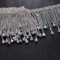 10yards/lot crystal AB fringe trimmings with rhinestone tassel decorations for women dress clothings decoration sew on applique