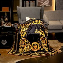 Luxury Blanket Throws Sofa Velvet Home-Decoration Fleece Black Flannel Soft New 3-Size