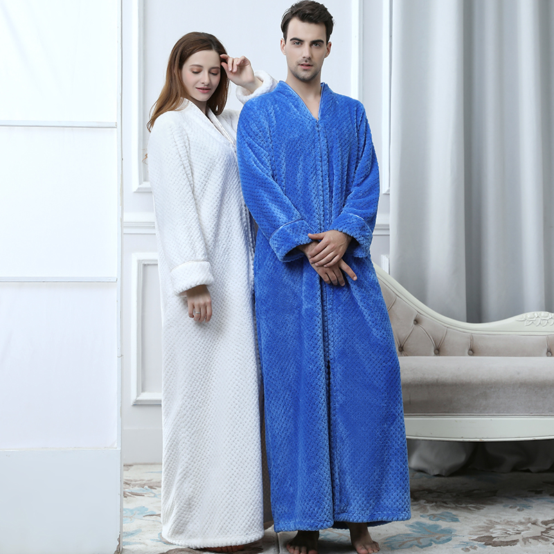 Kigurumi Winter Robe Bathrobe Men Women Loose Large Size Extra Long Bath Robes Male Zipper Flannel Thick Warm Dressing Gown