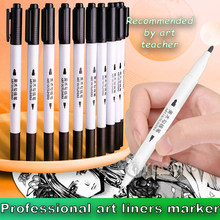 Different Sizes Art Marker Pen Ink Black Pigment Liner Based for Drawing Painting Hand Writing School Supplies(China)