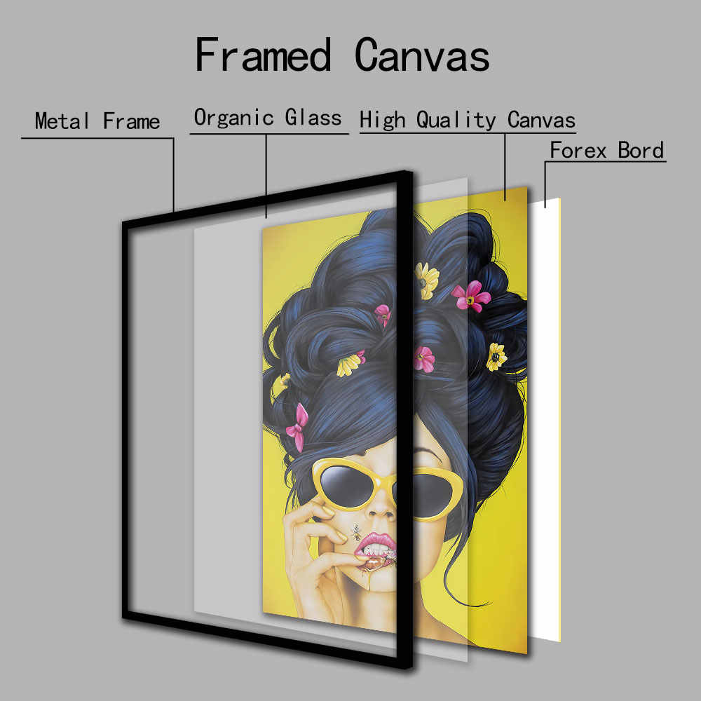 Cool Woman Colorful Wall Art Canvas Painting Abstract Art Nordic Wall Pictures for Living Room Decor Metal Organic Glass Frame