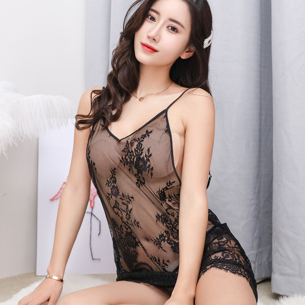 Sexy Lingerie Transparent Lace Camisole Sexy Nightgown Summer Temptation Tulle Pajamas 1810