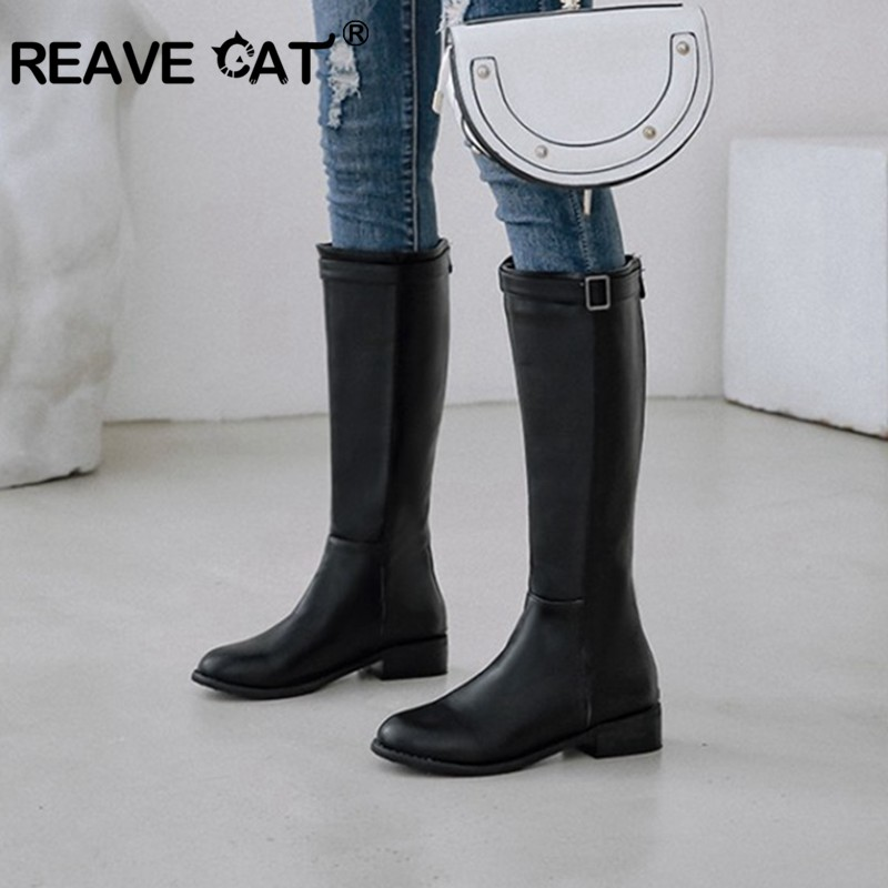 REAVE CAT Women Leather Shoes low heels Black knee high  boots designed Winter shoes Fashion women Western booties botas mujer