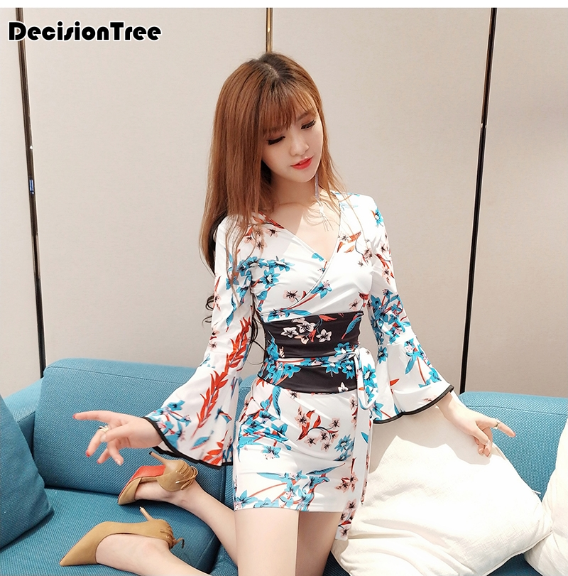 2019 Short Style Woman Sexy Japanese Dress Traditional Kimono Yukata Night Gown Sleepwear Lady Bathing Robe Silk Satin
