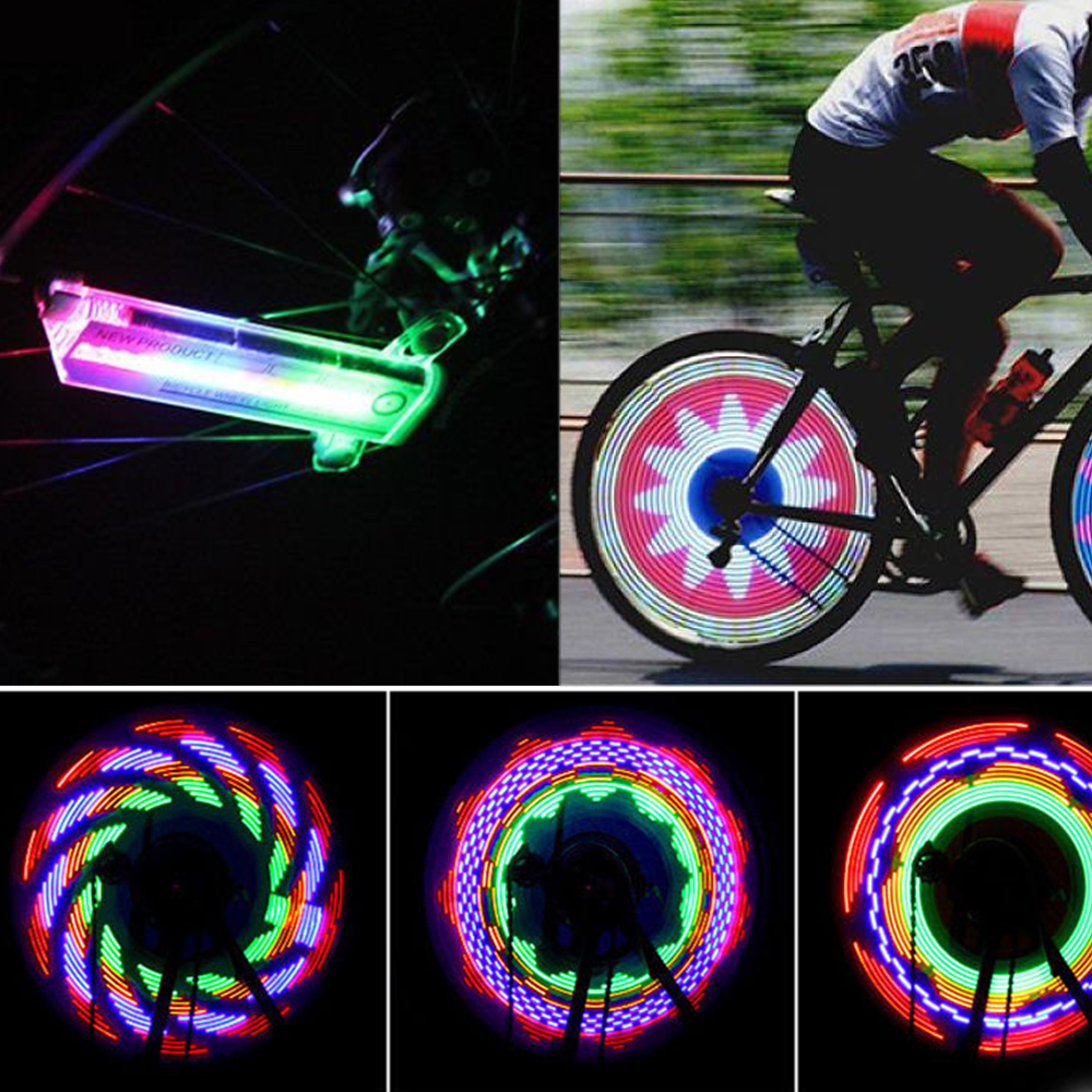 Rechargeable Cycling Wheel Spoke Light Colorful Bicycle Motorcycle Lights Bike Waterproof New 32 LED Outdoor Lamp Accessories