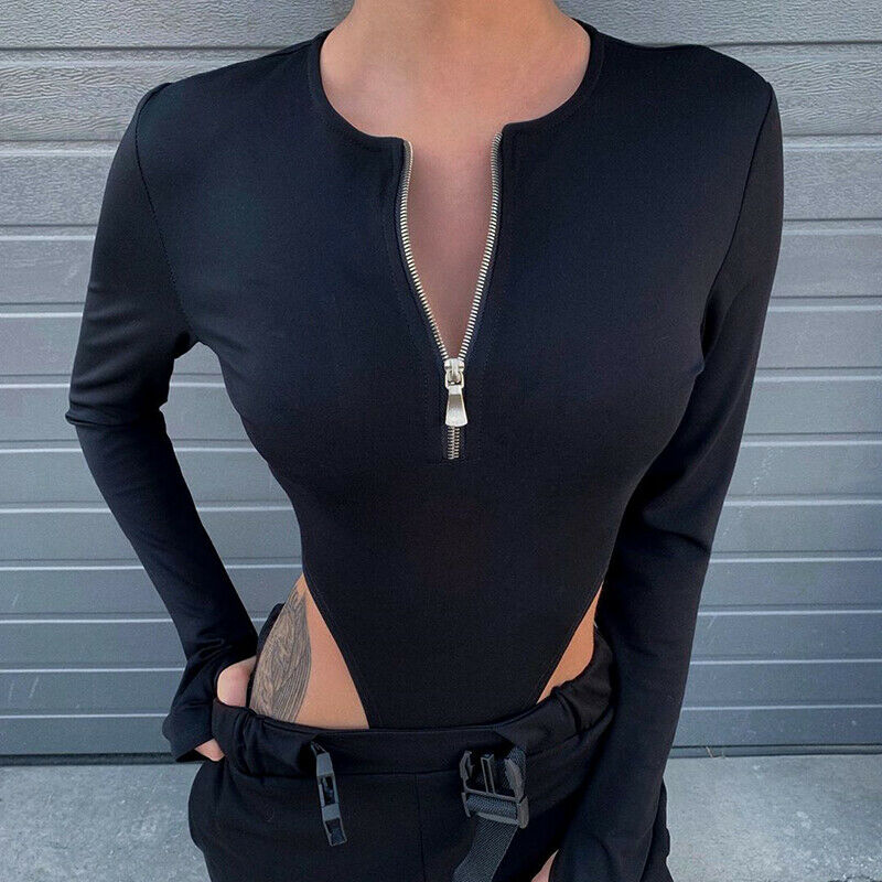 Fashion O-Neck Slim Fit Bodysuit Women Ladies Long Sleeve Casual Crepe   Rompers   Skinny Leotard Body Tops
