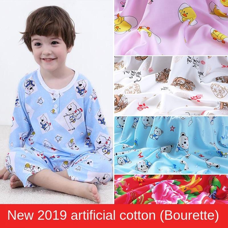 Artificial Cotton Printing Rayon Cotton Silk Fabric Baby Cotton Summer Pajamas Fabric Wholesale 100% Cotton Casual Viscose Rayon