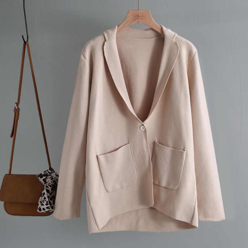 2019 Повседневный плотный Трикотажный костюм на одной пуговице, куртка, пальто, женская осенне-зимняя новая свободная женская кофта в стиле ретро, кардиган, шикарный топ