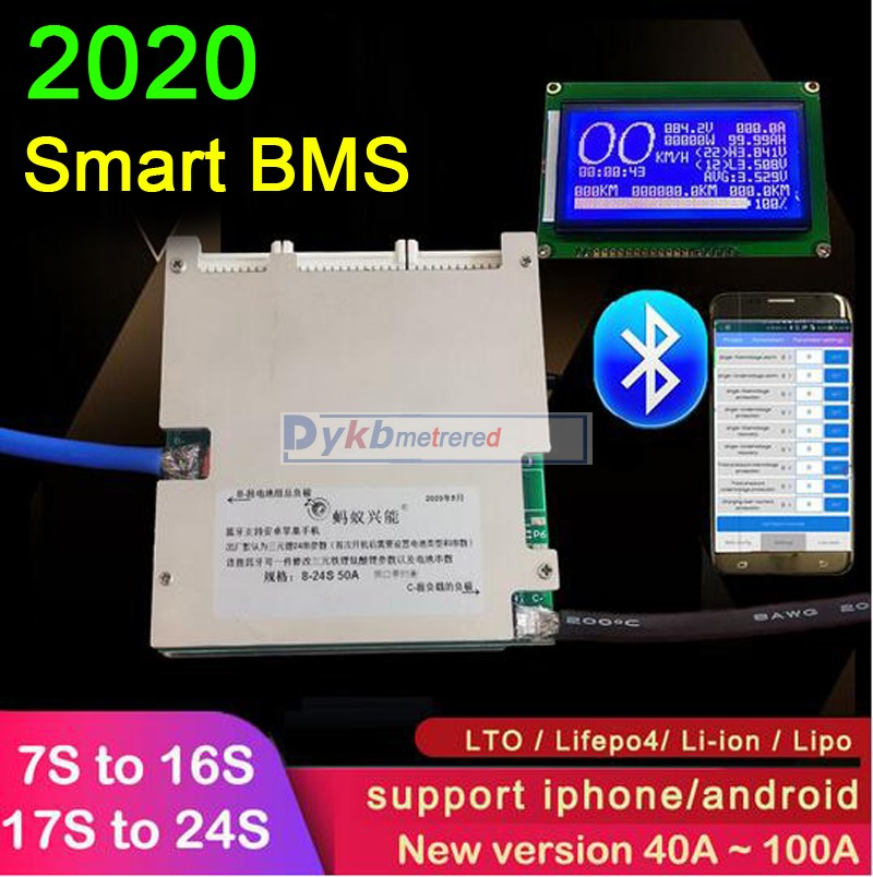 DealîProtection-Board Lithium-Battery Bluetooth Lifepo4 100A 10S 60V 48 LCD 24S 7S 12S 50A