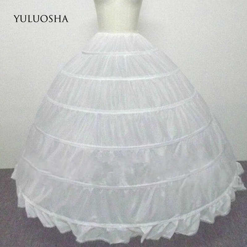YULUOSHA งานแต่งงานอุปกรณ์เสริม Petticoat ยาว Crinoline กระโปรง 6 Hoops กระโปรง Petticoat สีแดง Tulle ชุดเจ้าสาว Lolita Petticoat