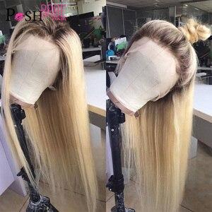 Image 4 - オンブル 1B 613 ストレートレースフロントかつら人毛グルーレスインドの remy ブロンド色の前で摘み取らの毛のかつら黒人女性のための