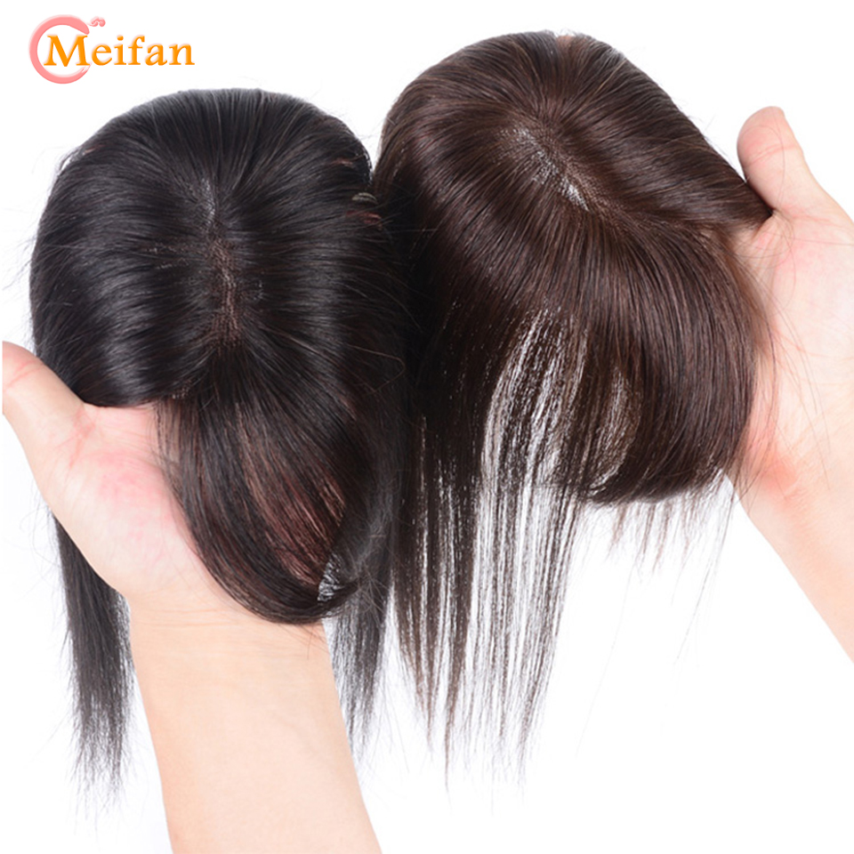 MEIFAN Top Hair Pieces With Bang Hand-made Half Head Wig Natural Stright Fluffy Invisible Closure Synthetic Pad Hair Pieces