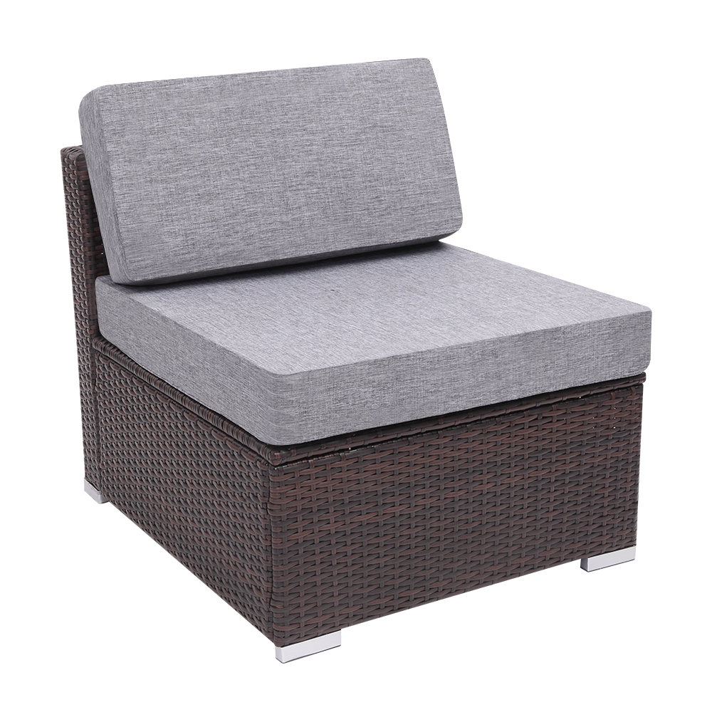 【US Warehouse】Patio PE Wicker Rattan Armless Sofa(Outdoor Rattan Sofa)