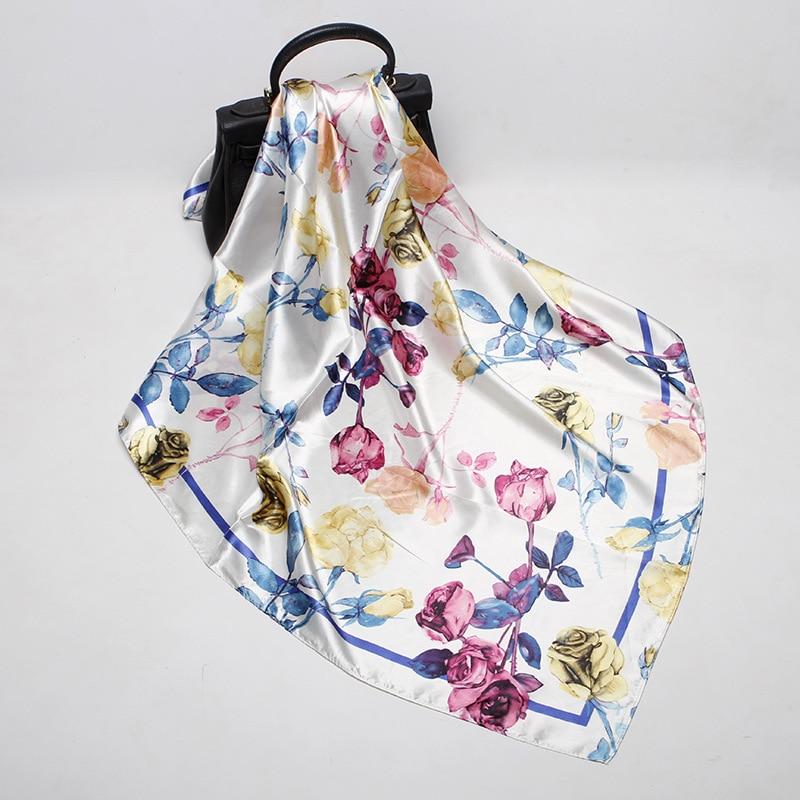 Imitated Silk Fabric Silk Scarves Women's 90 Cm Satin Bandana 2020 New Silk Scarf Style Rose Silk Scarves Foulard Femme