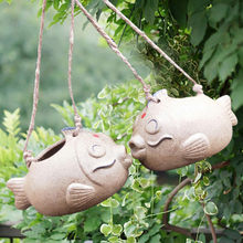 Get more info on the 2019 New Creative Fish Shape Garden Hanging Flower Pot Ceramics Potted Plant Small Flower Pot Inverted Planter Garden Decoration