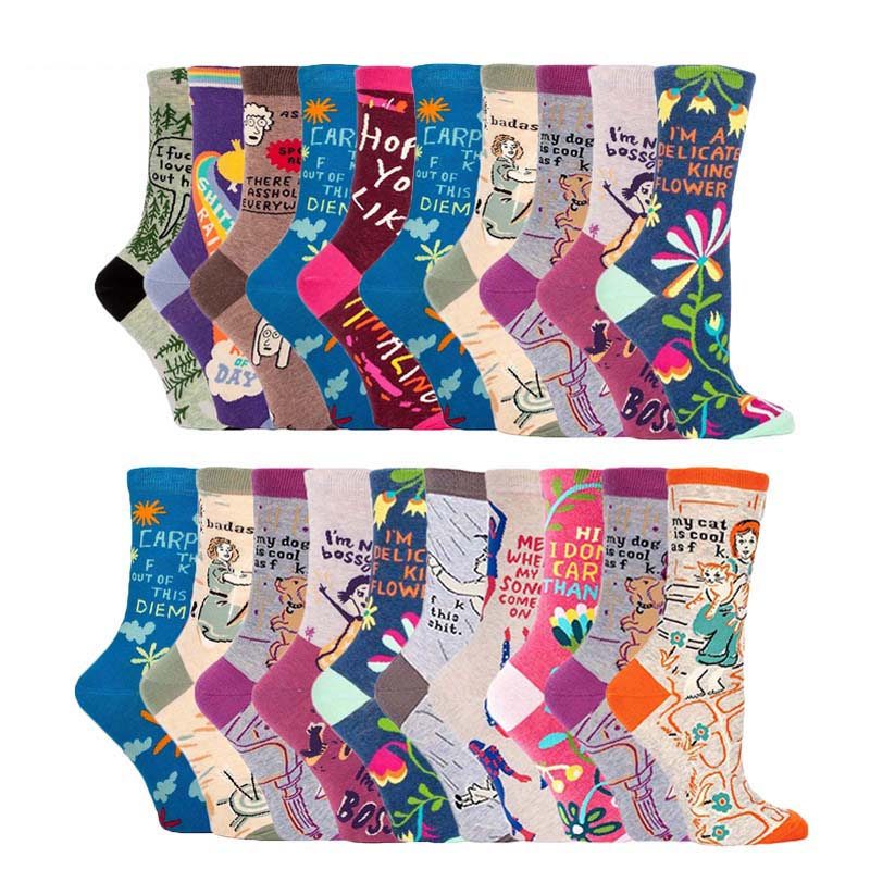 [SOPLCAALCK]Japanese Harajuku Funny Socks Women Jacquard Creative Cartoon Cute Socks Crew Calcetines Mujer Divertido Skarpetki