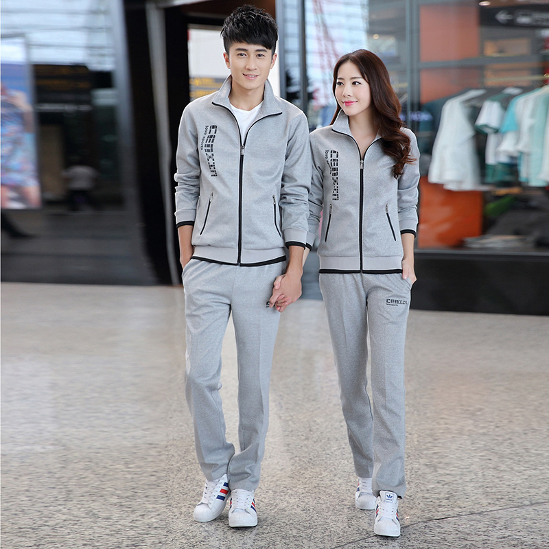 2020 New Style Spring Men Leisure Sports Suit Couples Long-sleeved Coat Trousers Running Set