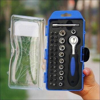 цена на 38 Pieces / Sleeve Multi-function Ratchet Wrench Set Household Combination Screwdriver Car Repair Power Tool Set Accessories