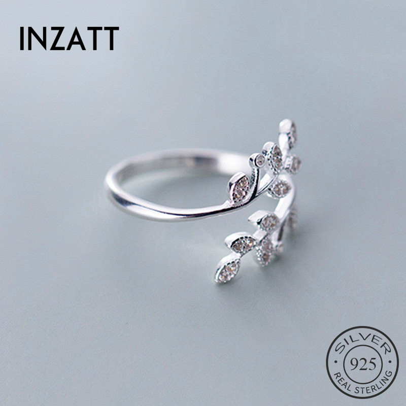 INZATT Real 925 Sterling Silver Plant Zircon Leaves Ring For Fashion Women Party Cute Fine Jewelry  Accessories 2019 Gift