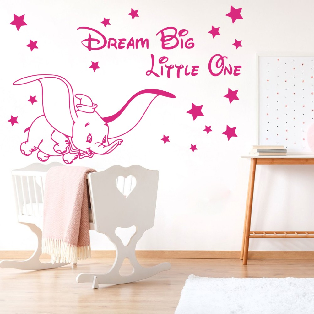 Cartoon Dream Big Little One Fly Dumbo Elephant Wall Decal Kids Room Dumbo Animal Elephant Inspirational Quote Wall Sticker  (6)