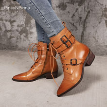 pointed toe chunky heels retro ankle knight boots women cross tied zipper buckle genuine cow leather pigskin riding shoes female недорого