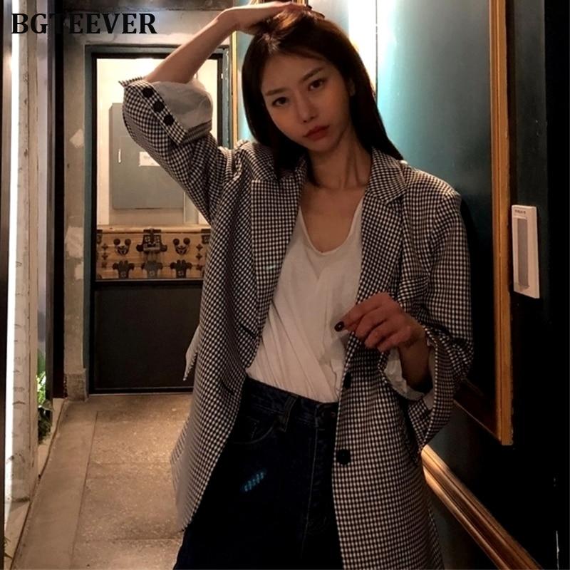 Stylish Single-breasted Plaid Women Blazer Workwear Full Sleeve Jackets Vintage Female Suit Coat Feminino Blazers Outerwear 2019