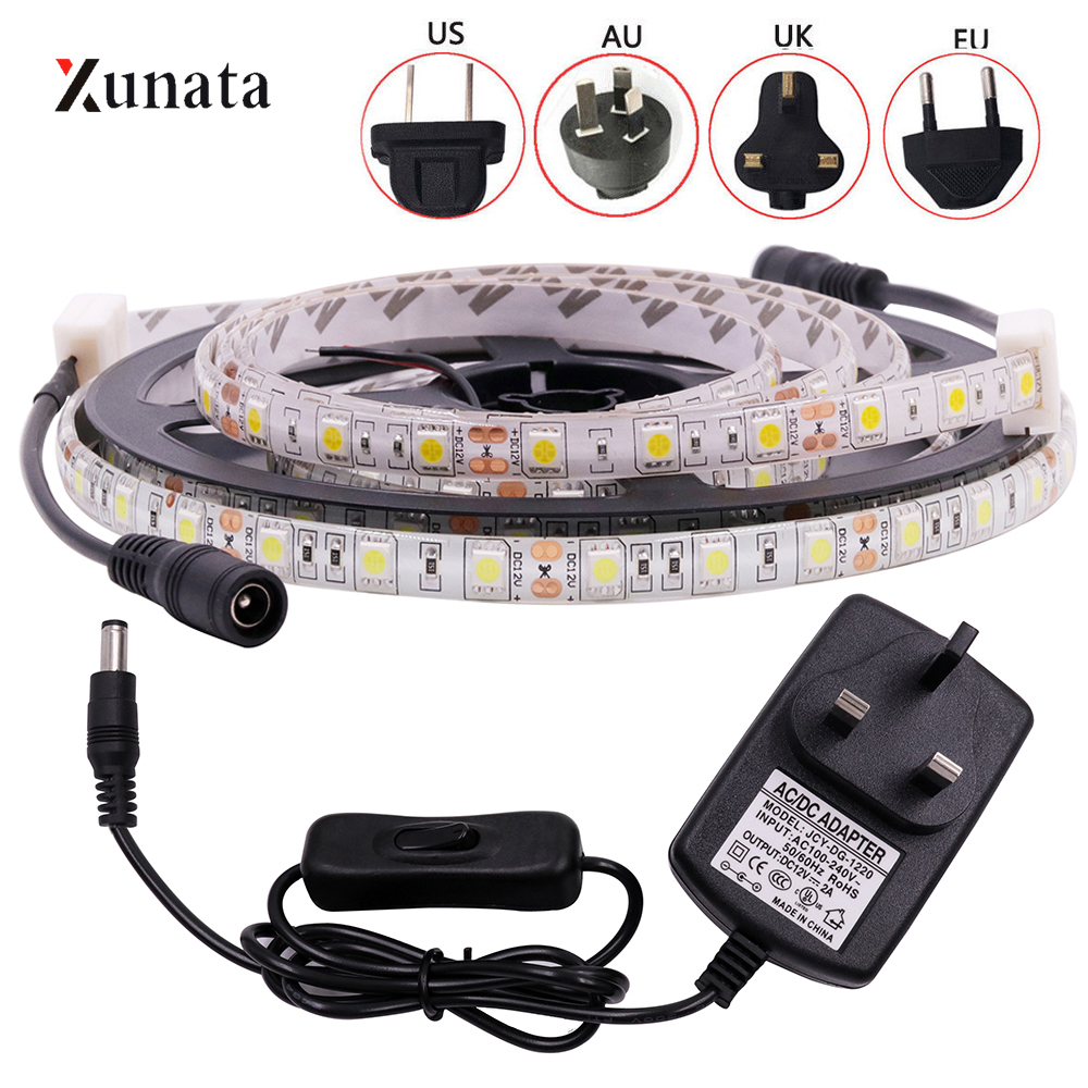 DC12V LED Strip Light SMD5050 60LEDs/M Flexible LED Tape Waterproof LED Ribbon With DC Connector EU/US/AU/UK Plug For Decoration