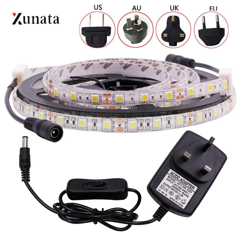 DC12V LED Strip Light SMD5050 60LEDs/M Flexible LED Tape Waterproof LED Ribbon With DC Connector EU/US/AU/UK Plug For Decoration