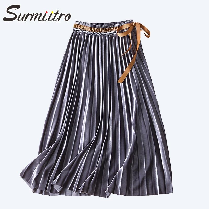 Surmiitro Soft Velvet Midi Pleated Skirt Women For Autumn Winter 2019 Fashion Korean High Waist Lace Up Long Skirt Female