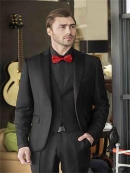 (Jacket+Pants+Bow Tie)Custom Made Black Shawl Lapel Groom Tuxedos White Men Suits Latest Coat Pant Designs Men Wedding Suits