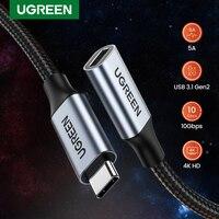 UGREEN-Cable de extensión USB tipo C 3,1 Gen 2, Cable de carga rápida y transferencia de datos de Audio para MacBook Pro iPad