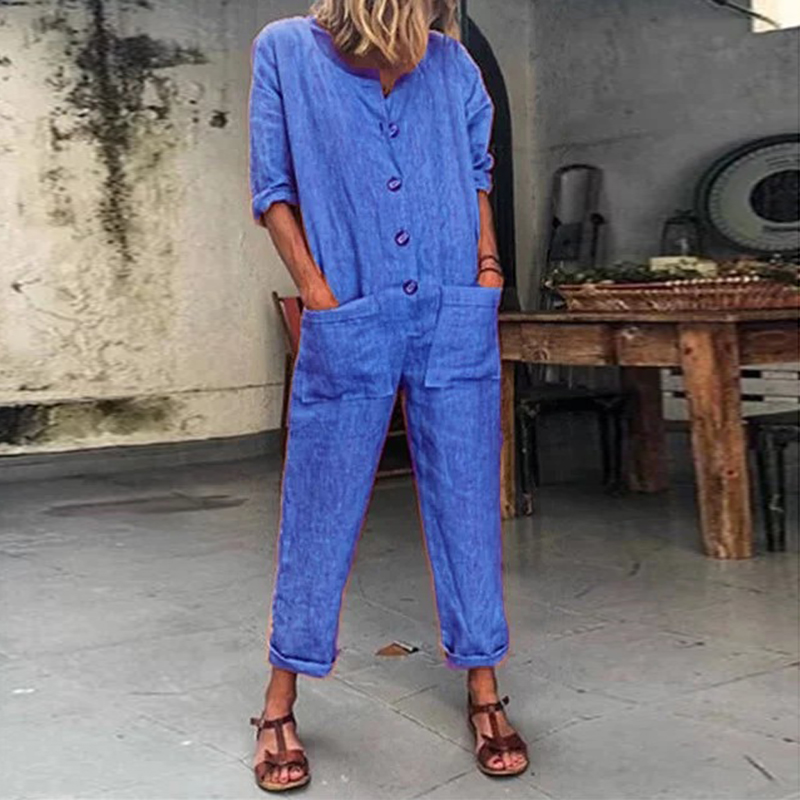 Jumpsuit Romper Trousers Spring Long-Sleeve Neck Female Womens Ladies Crew Solid Buttom