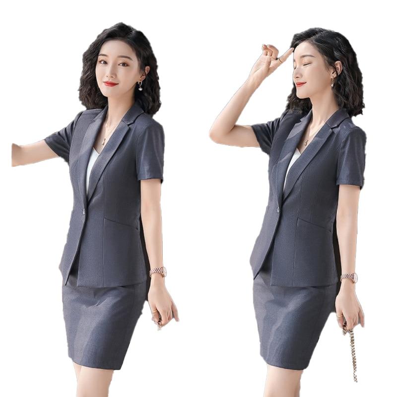 Female Elegant Formal Office Work Wear Summer Ladies Black Blazer Women Business Suits With Skirt And Jacket Sets Uniform Style