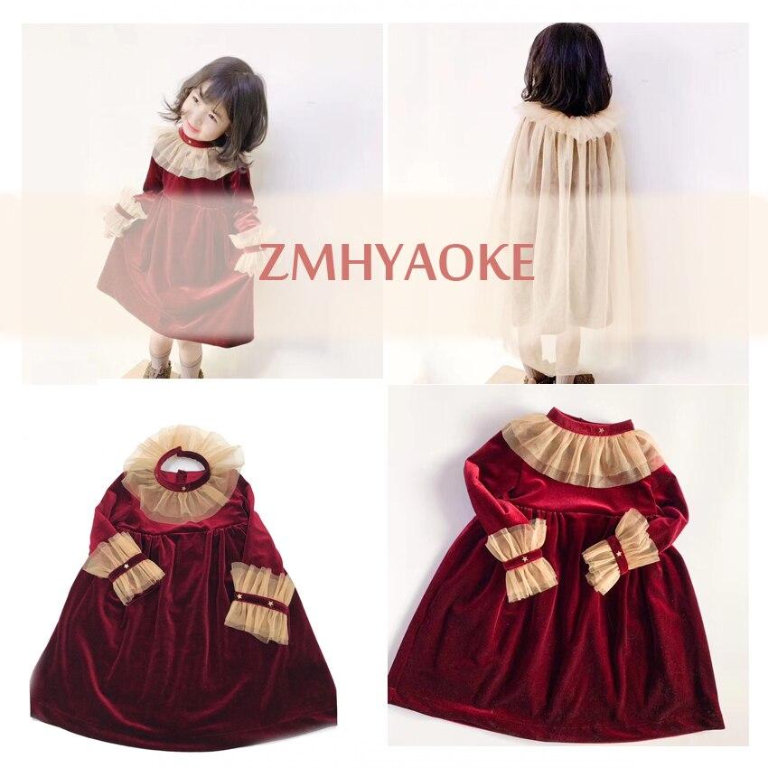 ZMHYAOKE-TuTu 2019 Toddler Girl Dress Beautiful Princess Party Christmas Thanksgiving  Dress Kids Dresses for Girls Give cloak