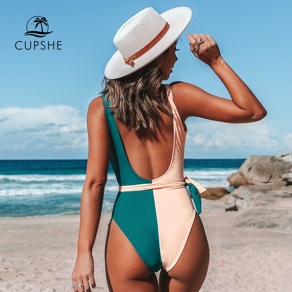Image 2 - CUPSHE V Neck Two Toned One Piece with Belt Swimsuit Sexy Open Back Women Monokini 2020 Girls Beach Bathing Suits SwimwearBody Suits   -