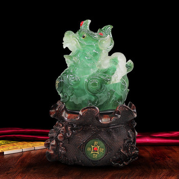 WSHYUFEI Feng Shui Money Good Luck Gifts Chinese Resin Animal statue Crafts Home Office Desktop Decorations Shop Ornaments