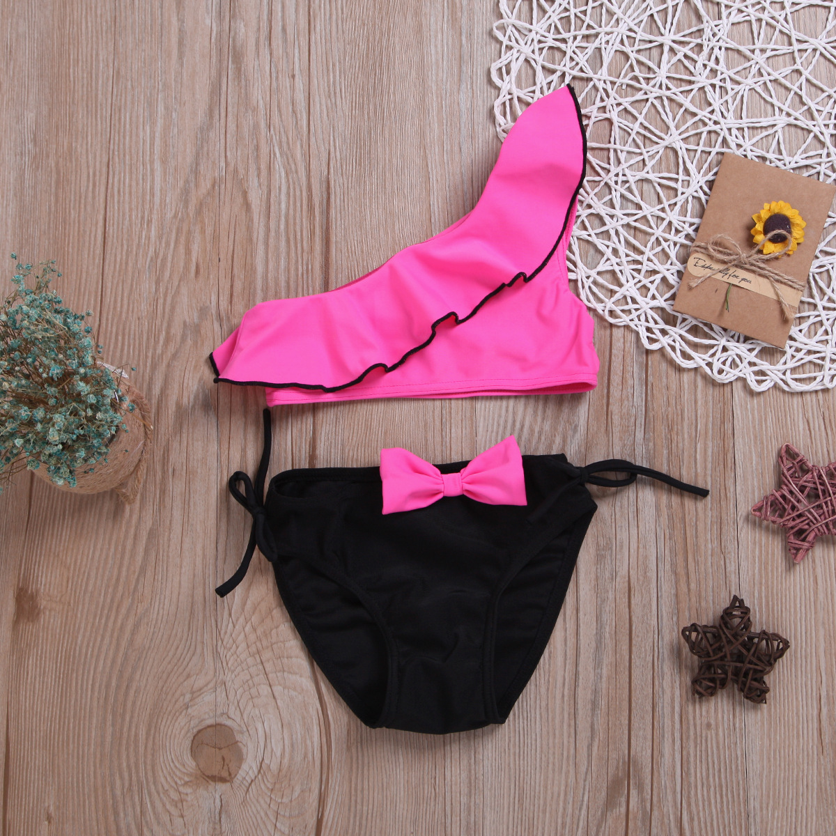 2019 New Style Kid's Swimwear Girls Sloping Shoulder Bathing Suit Girl's Split Type Swimwear Multi-color Selectable