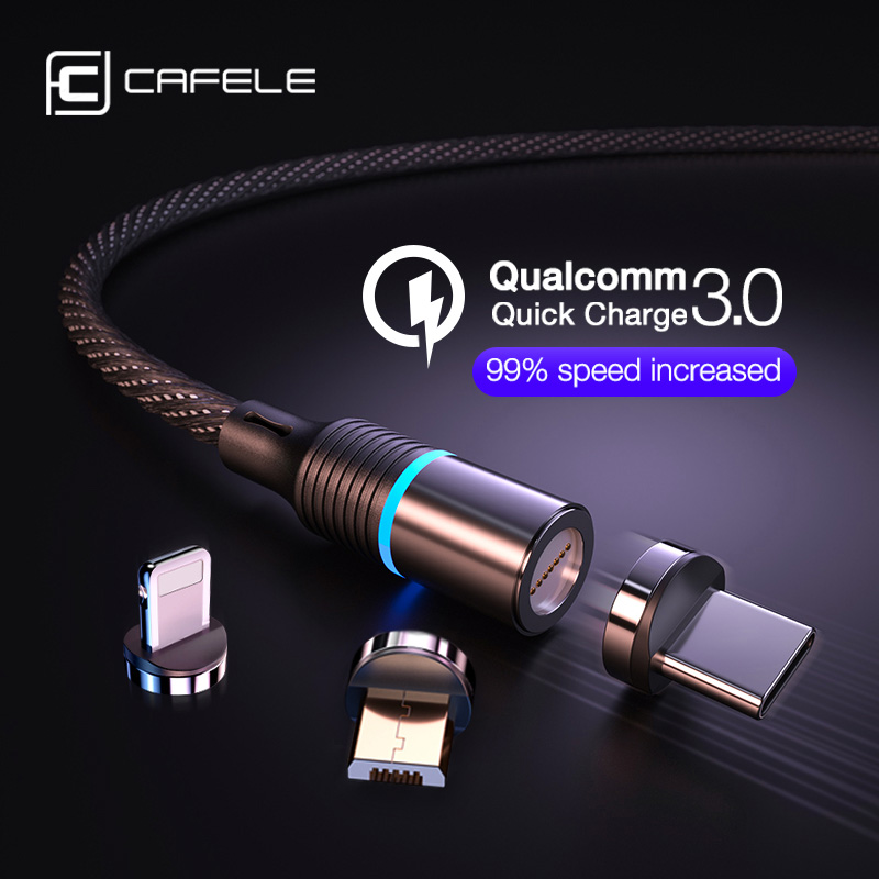 Cafele magnetic charger cable micro usb type c cable for iPhone Fast Charging 3A Wire Cord usb c Phone cable Support data sync(China)